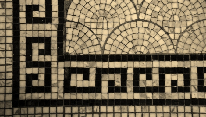 Floor tile pattern from the Cafe du Parc at the Willard. (© Russell P. Petcoff)